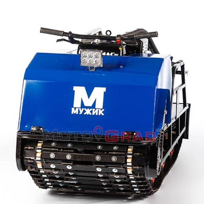 Мотобуксировщик Мужик М600 Long К15 с двигателем 15 л.с, 1700 мм. универсальная подвеска, разрезная гусеница 600 мм.